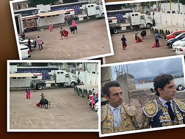 Diego Emilio lidia un toro en el estacionamiento